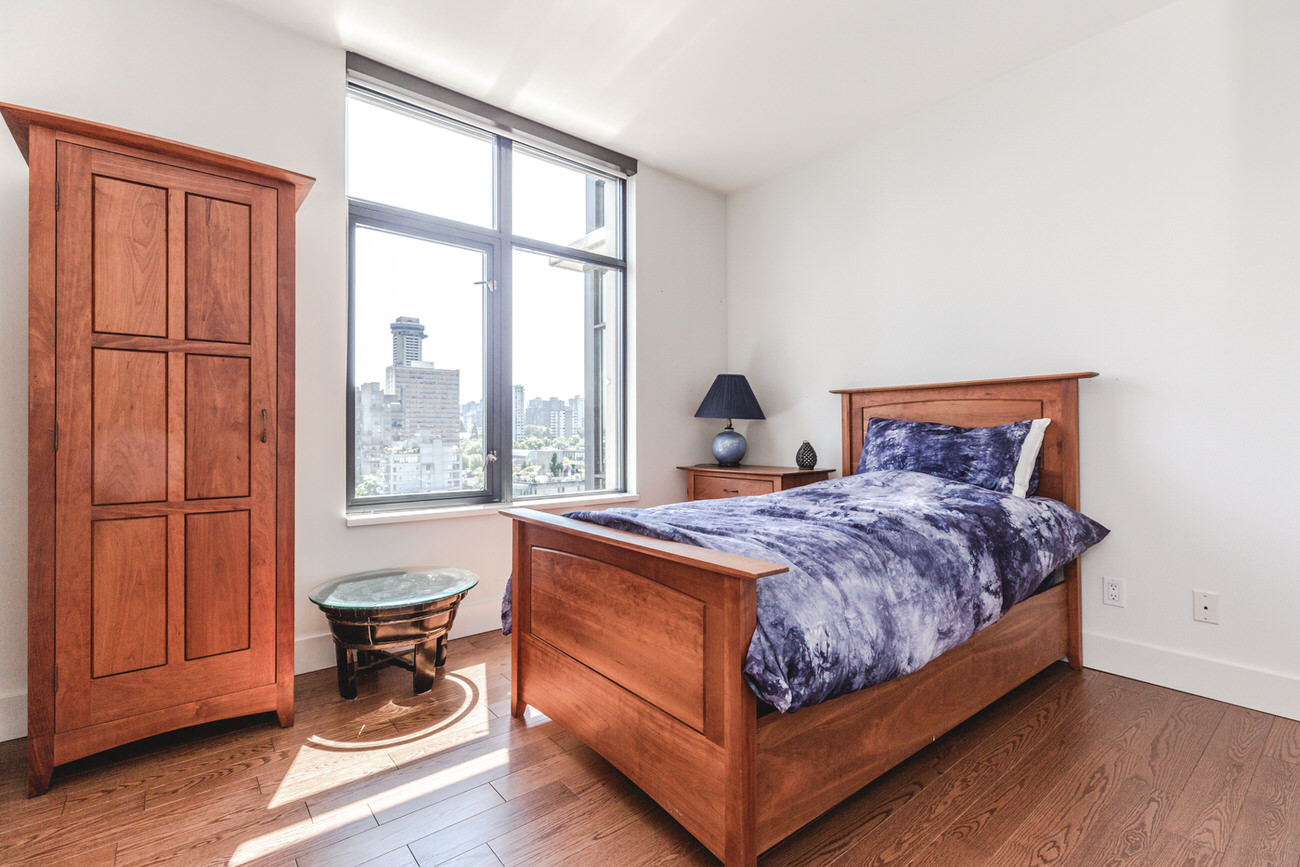 Downtown Vancouver condo bedroom.