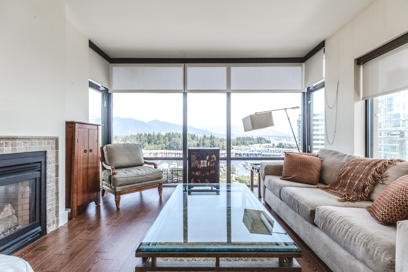 Living room of Downtown Vancouver condo with view.