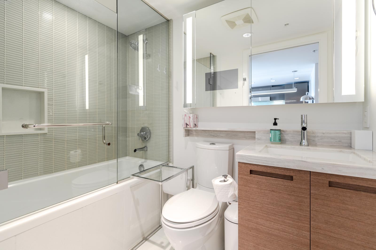Bathroom at Downtown Vancouver condo rental managed by Birds Nest Properties.