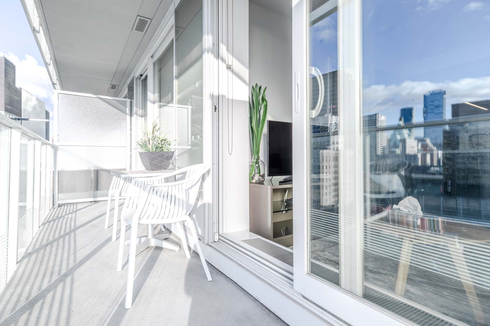 Private balcony with view at Downtown Vancouver rental condo.