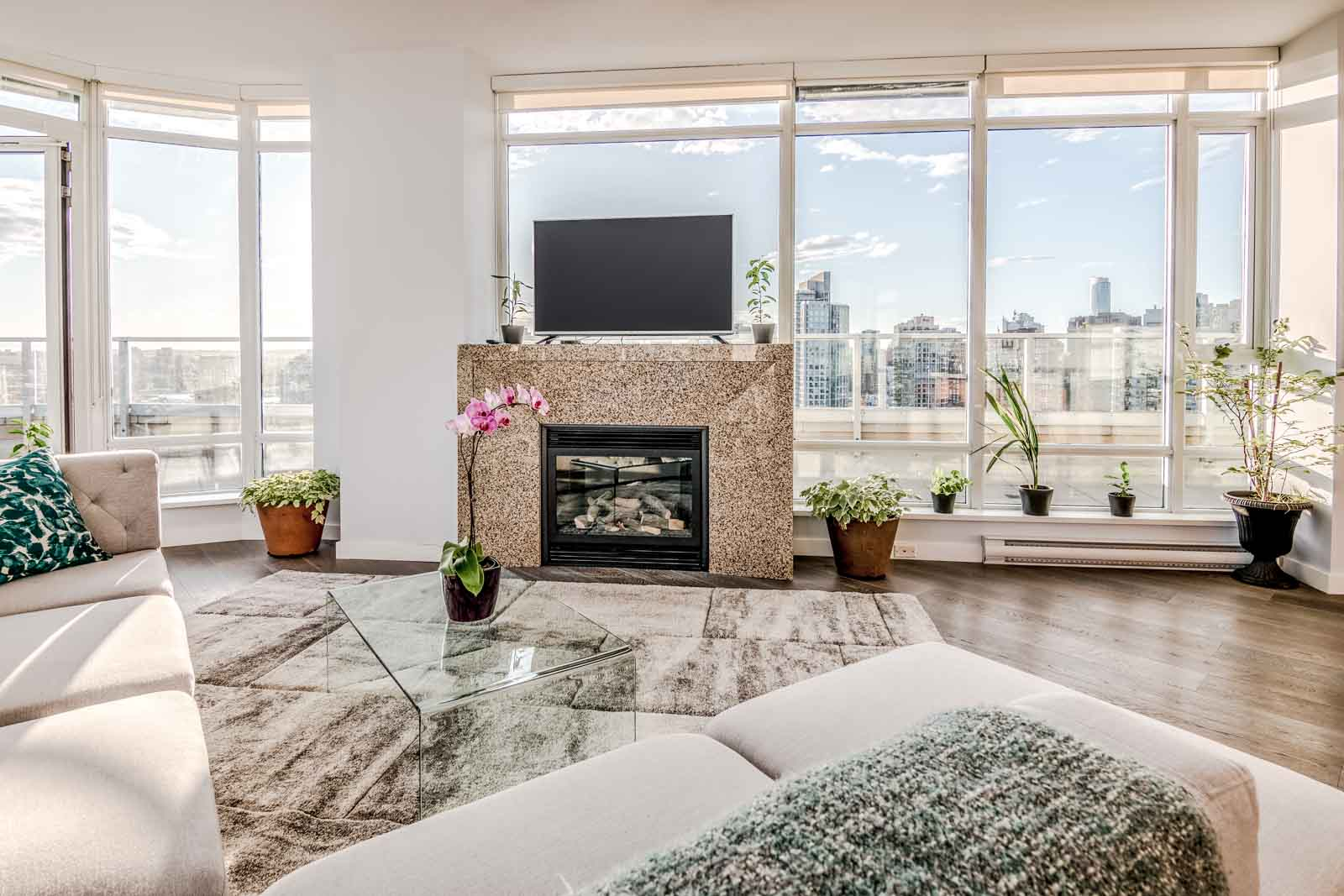 Fireplace in Olympic Village Luxury Rental
