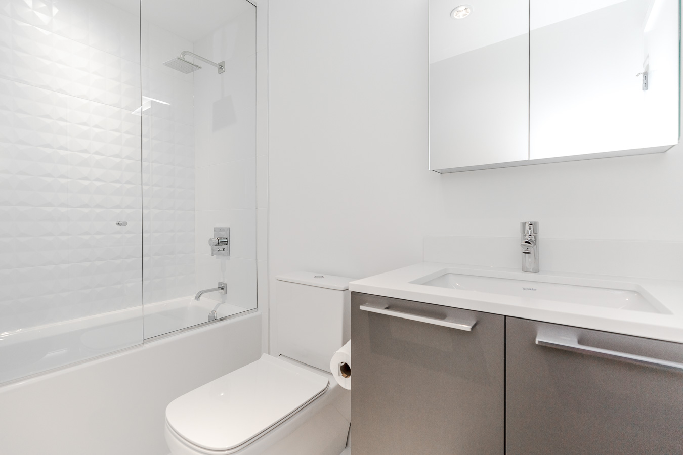 Bathroom at luxury Vancouver condo rental.