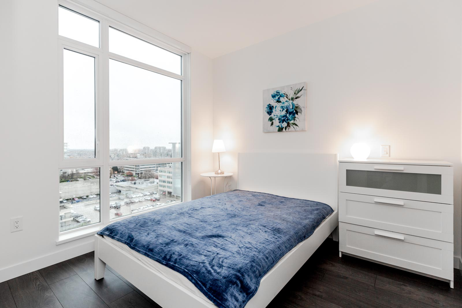Blue Velvet Bedspread at Richmond Condo For Rent