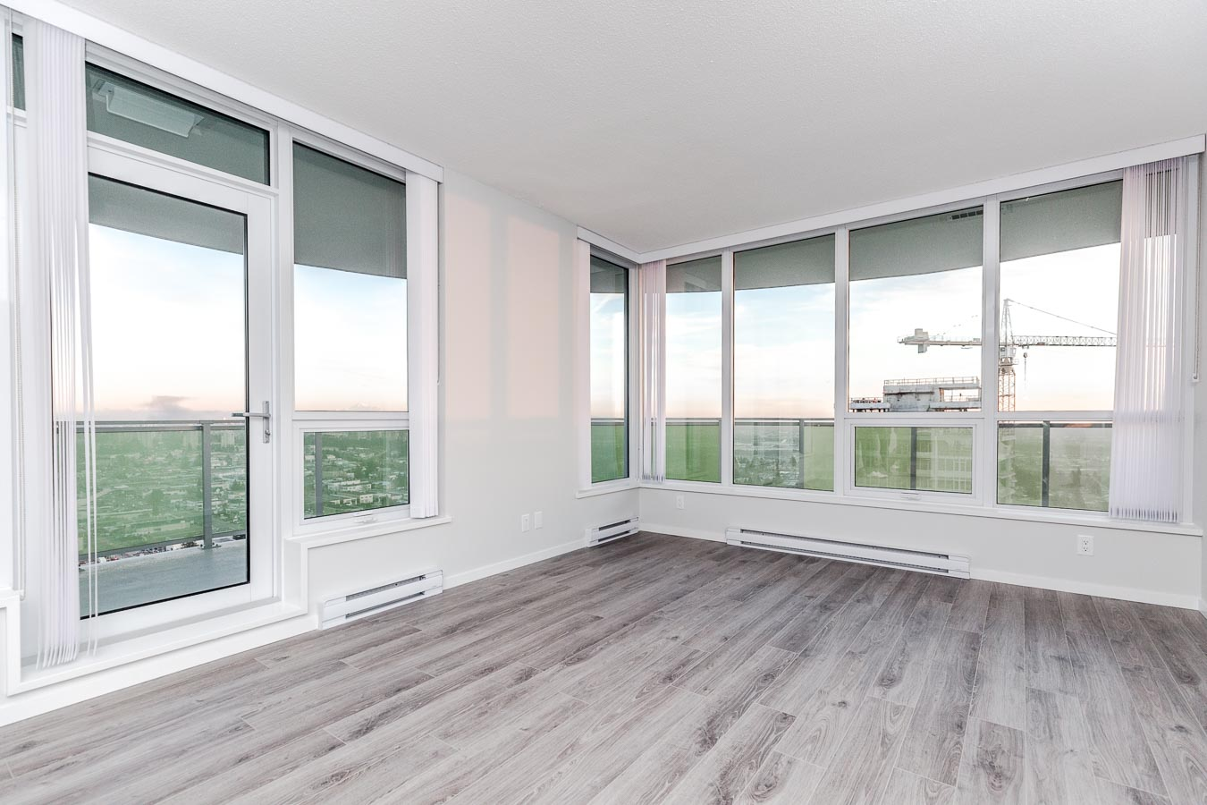 Living area with a view at Metrotown luxury condo rental.