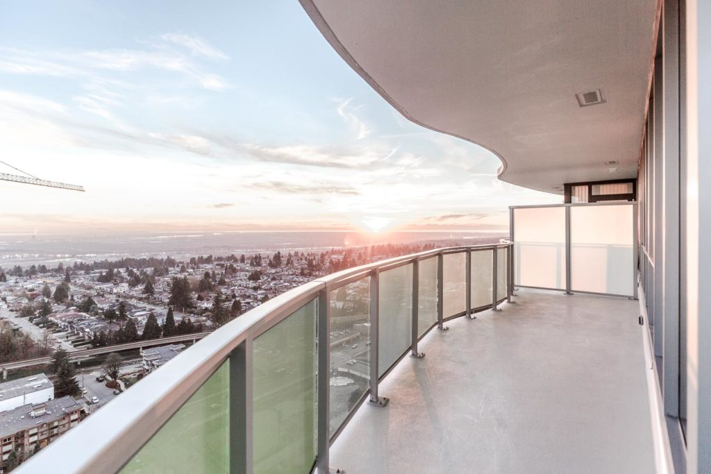 Balcony with panoramic views at newly developed Metrotown condo.