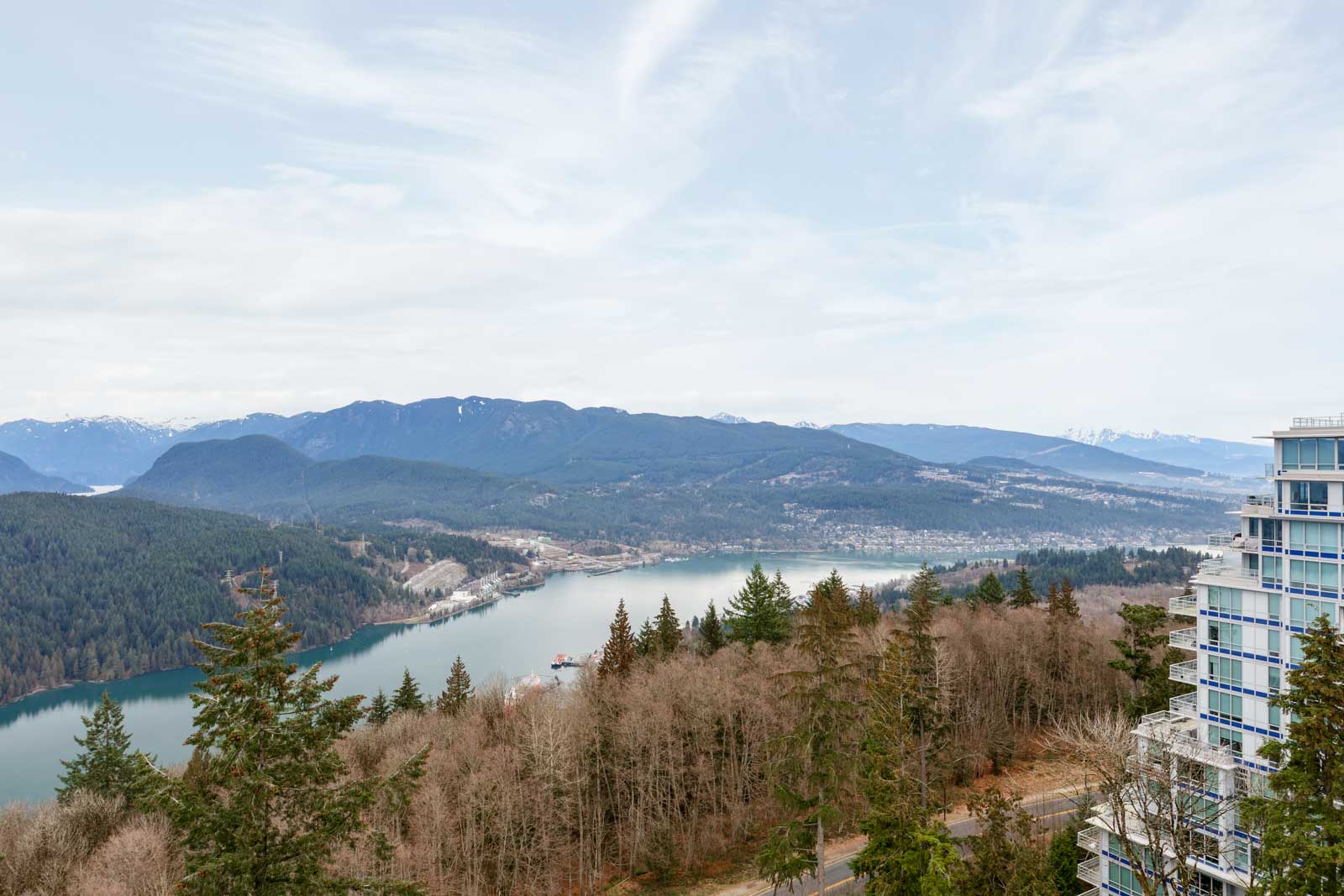 Panoramic view from Burnaby Mountain rental condo.