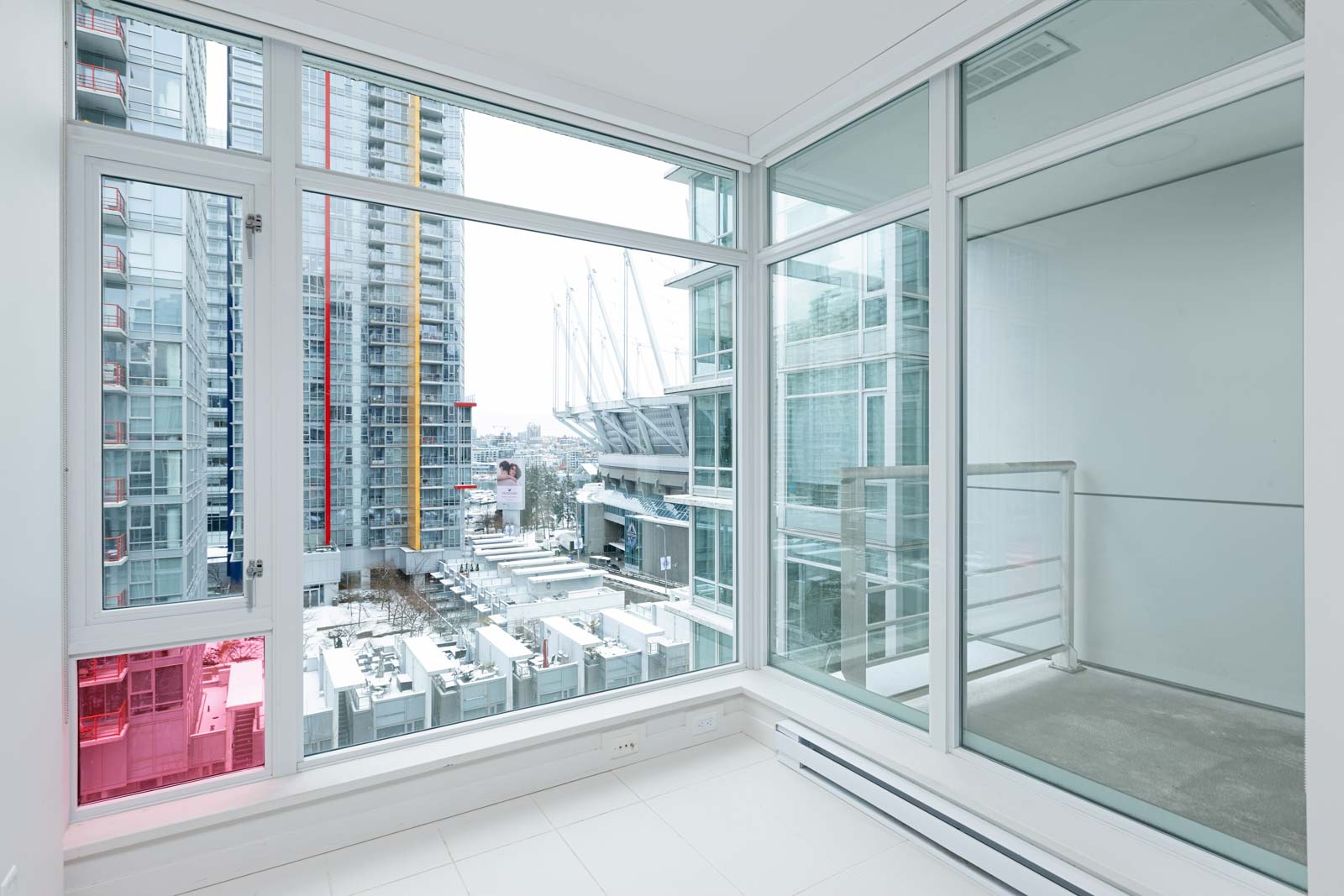 Bedroom with view at Downtown Vancouver condo rental managed by Birds Nest Properties.