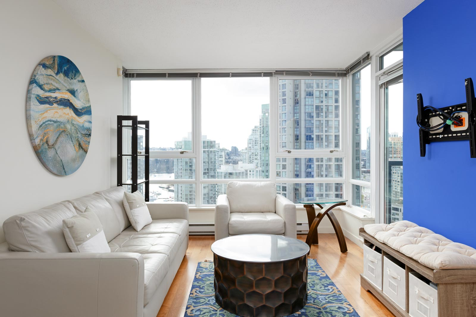 Living room with views from Downtown Vancouver rental condo.