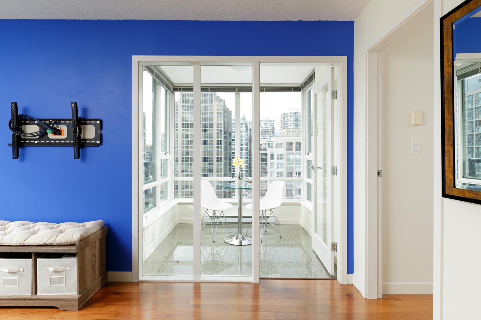 Entrance to private balcony with views of Downtown Vancouver.
