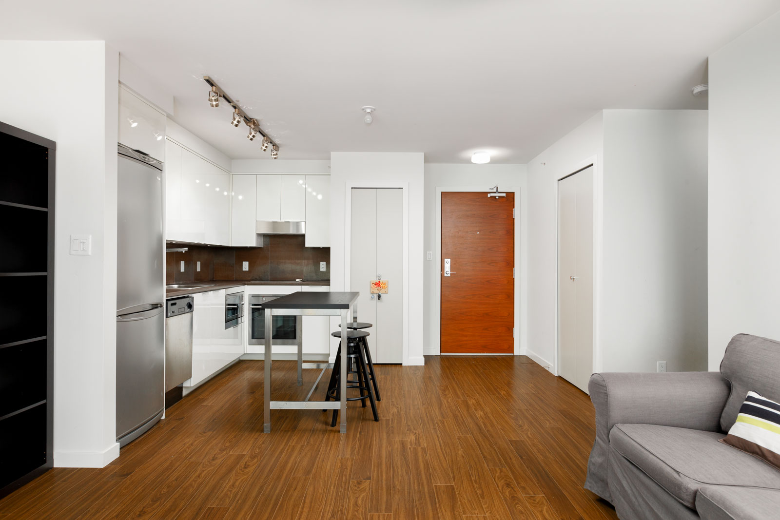 Furnished kitchen at Downtown Vancouver condo rental managed by Birds Nest Properties.