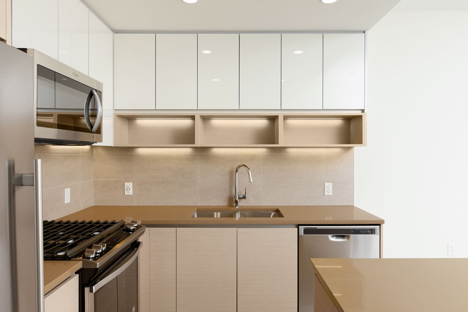 Newly renovated kitchen in Burnaby Mountain rental condo.