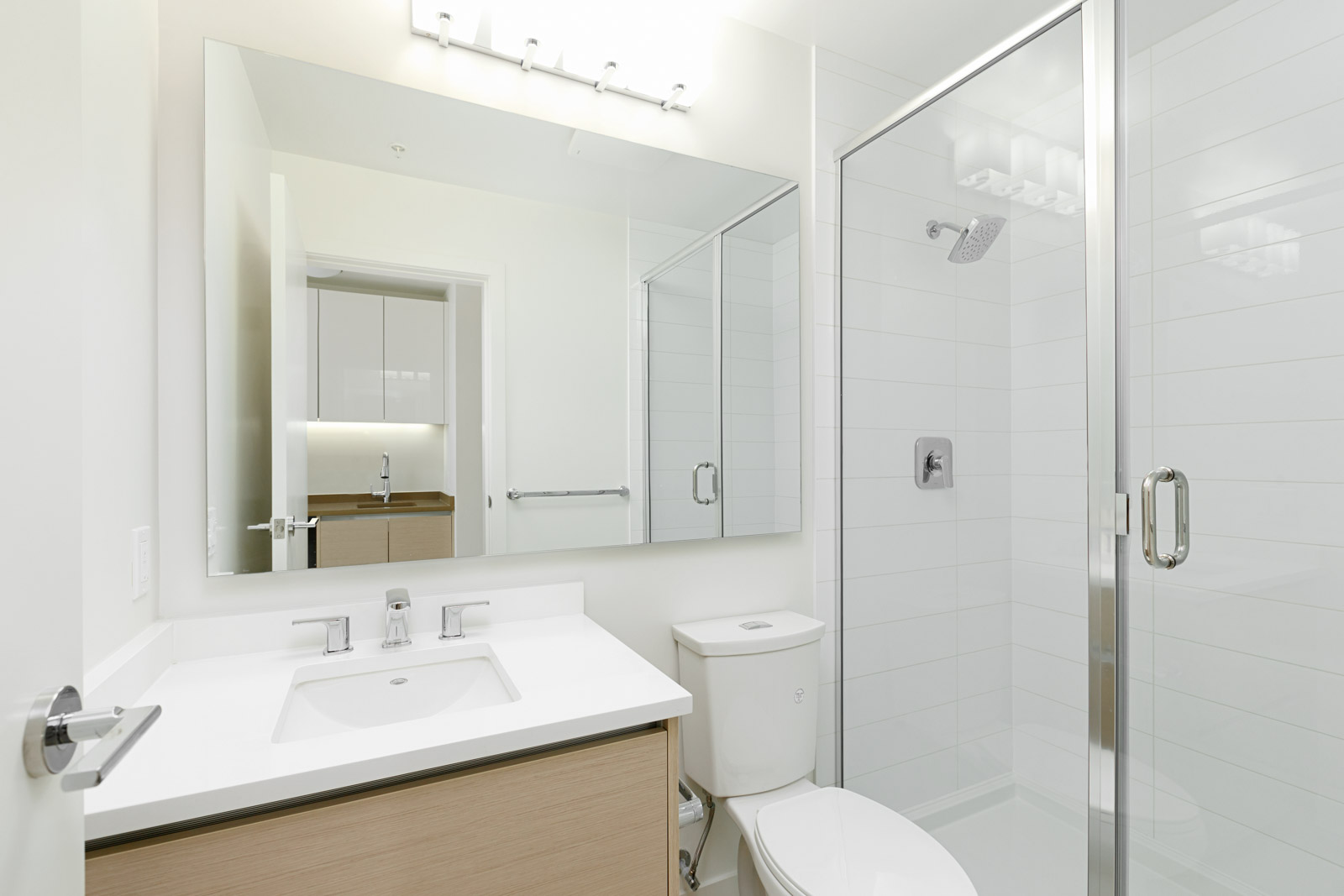 Newly built bathroom at Burnaby Mountain rental condo.