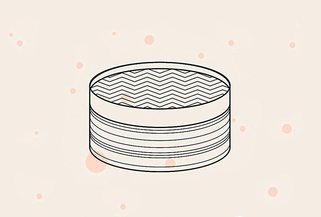 Illustration of Dumpling Basket with Pink Background and Pink Polka Dots