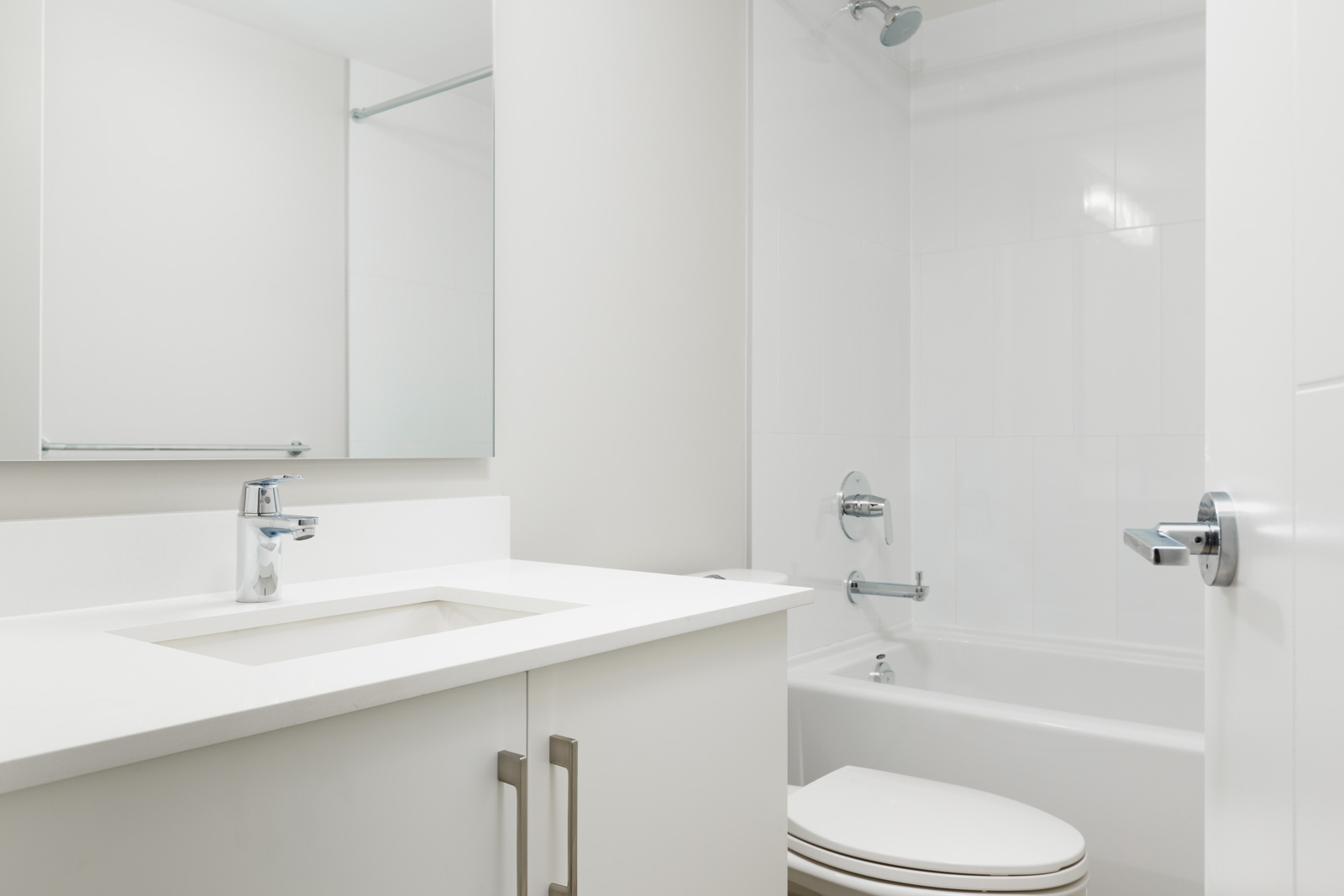 Newly built bathroom inside Richmond luxury rental townhome.