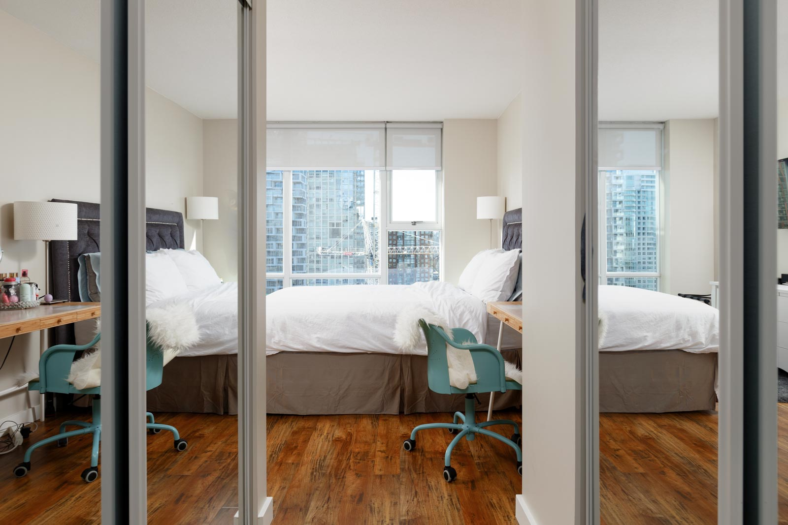 Bedroom with view in Yaletown Vancouver rental condo.