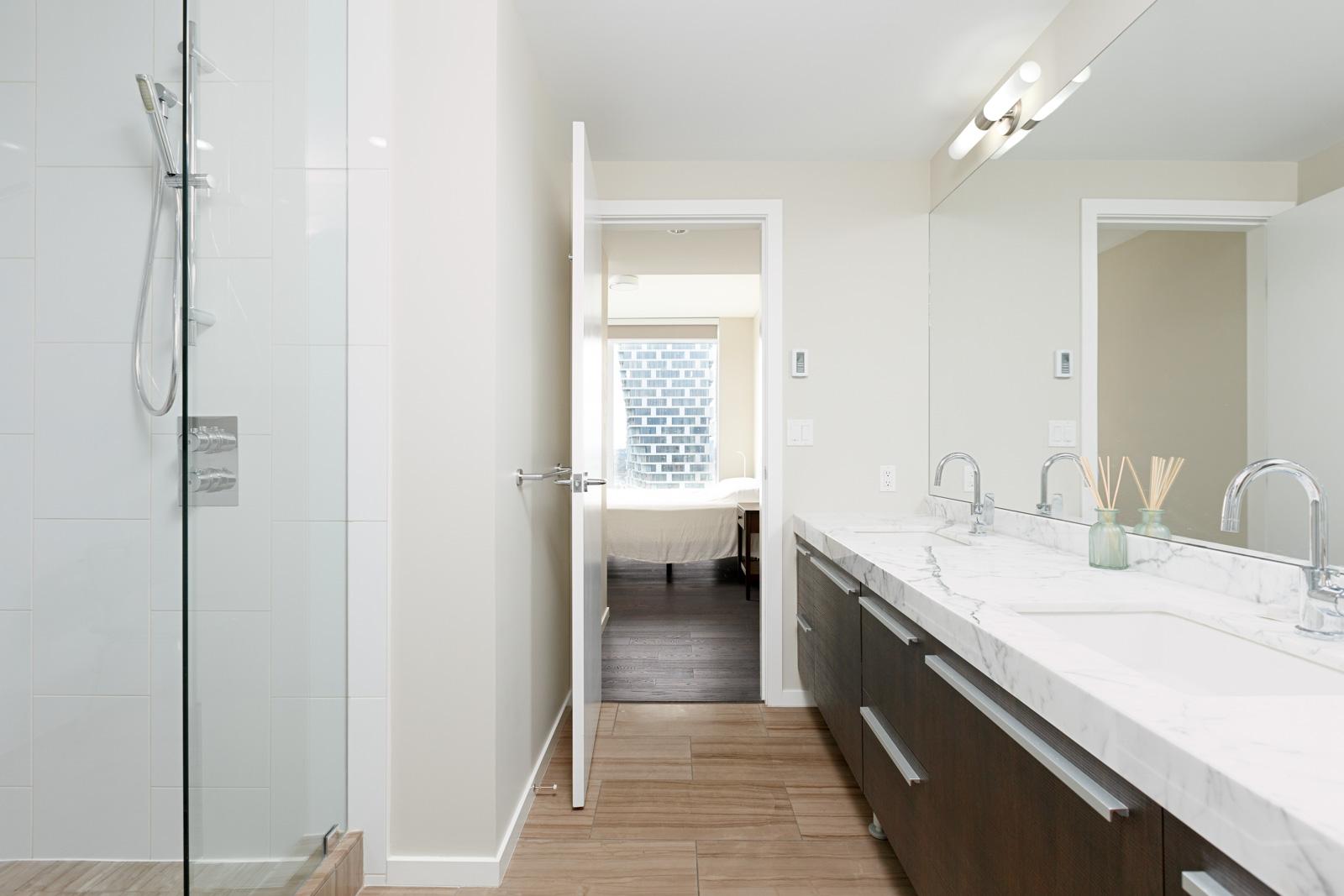 Bathroom in Vancouver rental condo.