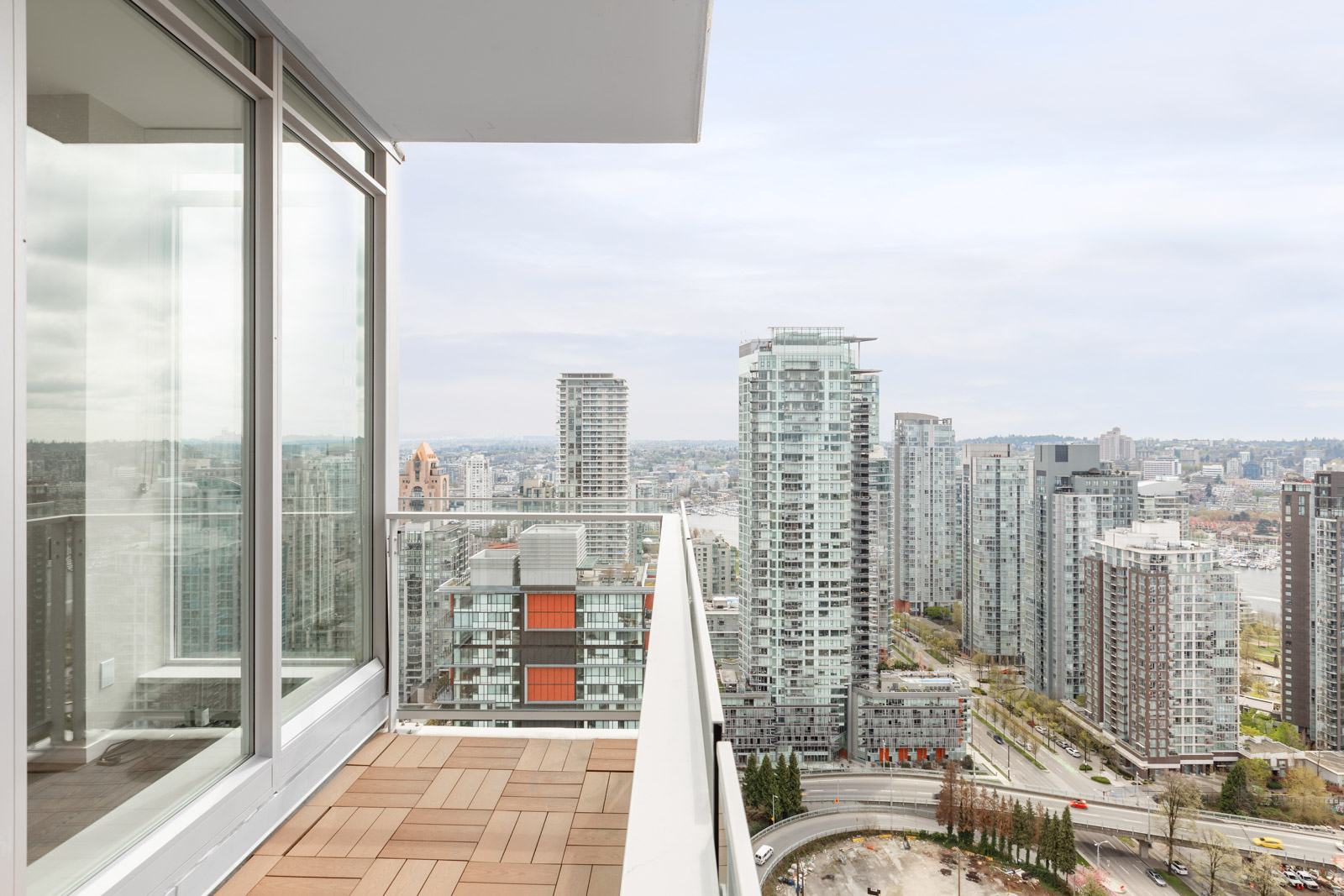 Private balcony offering views from Vancouver rental condo.