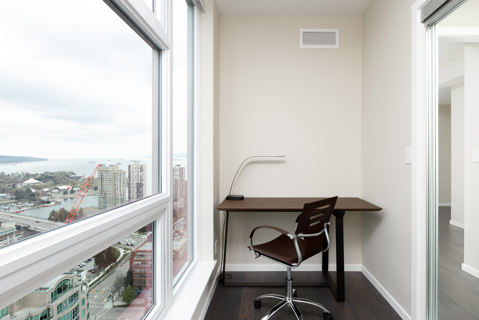 Study den in Vancouver rental condo with view.