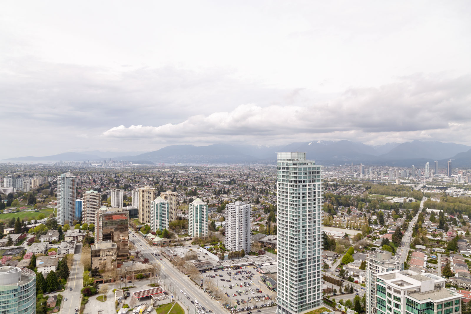 View of highrises from Metrotown condo