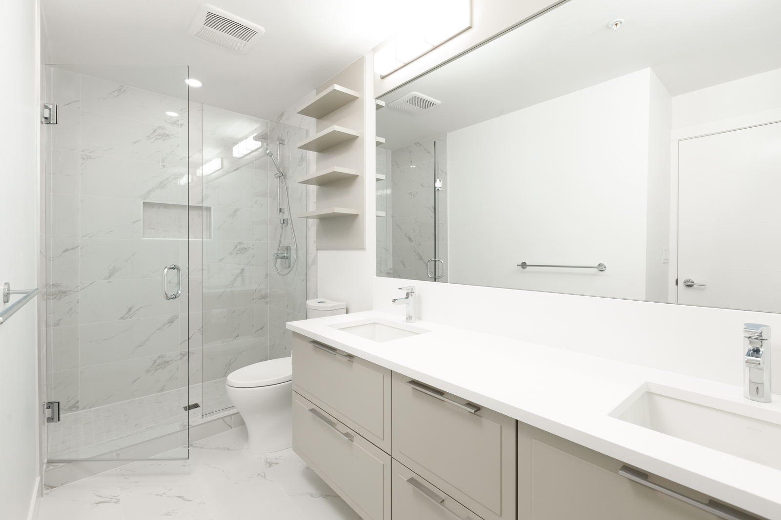 Newly built bathroom inside Vancouver rental townhome.