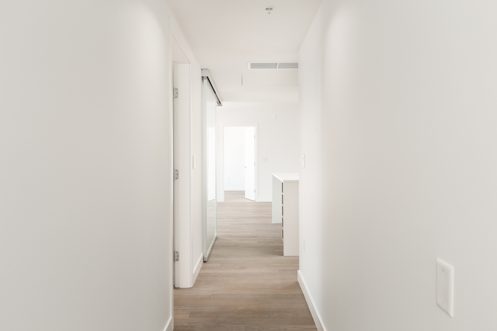 Interior hallway of Vancouver rental townhome in the Marpole community.