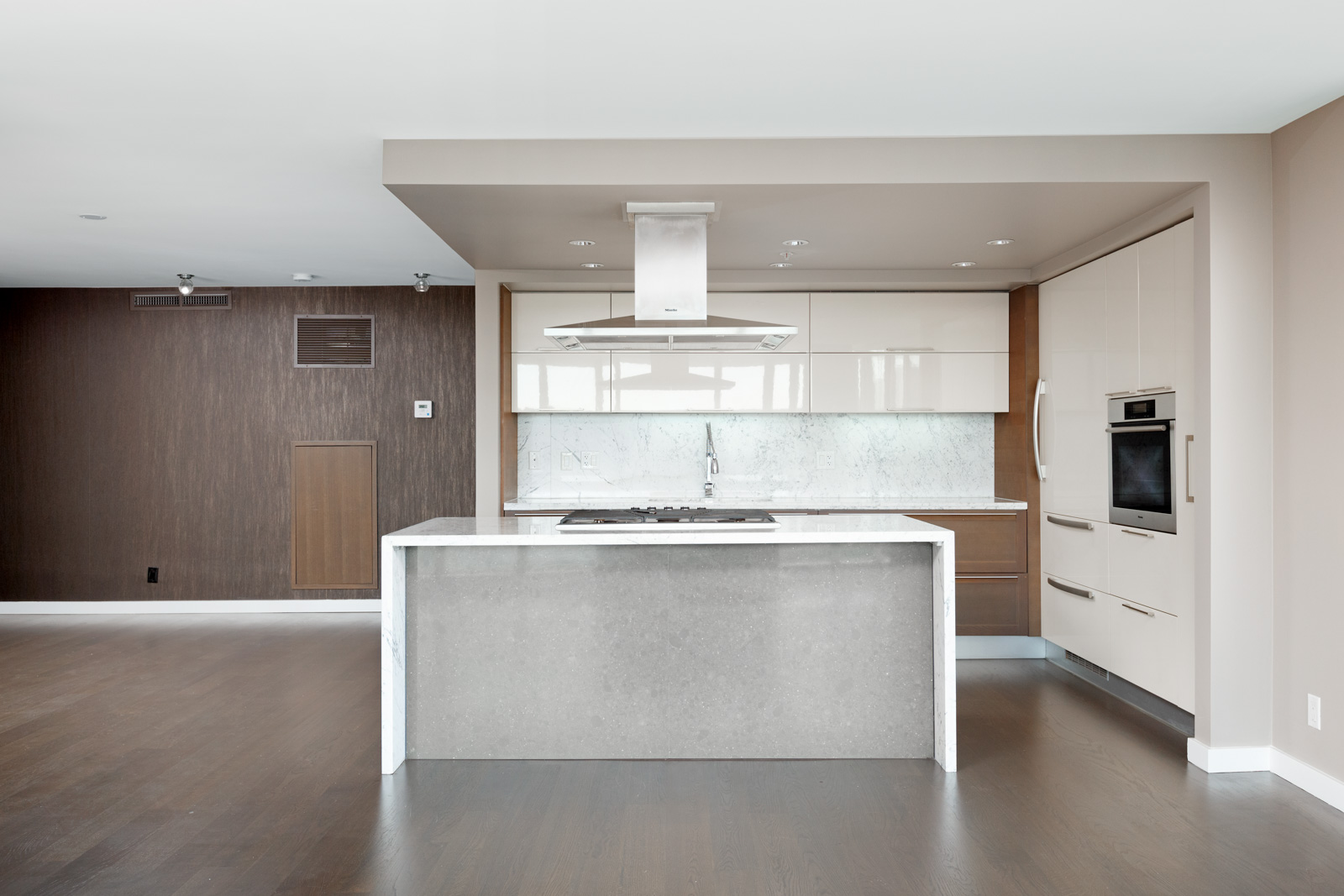 Marble kitchen island inside luxury Vancouver rental condo.