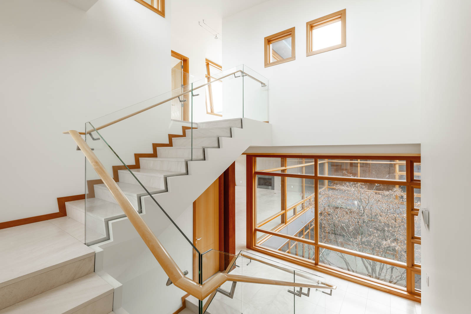 Interior staircase of West Vancouver luxury rental home.