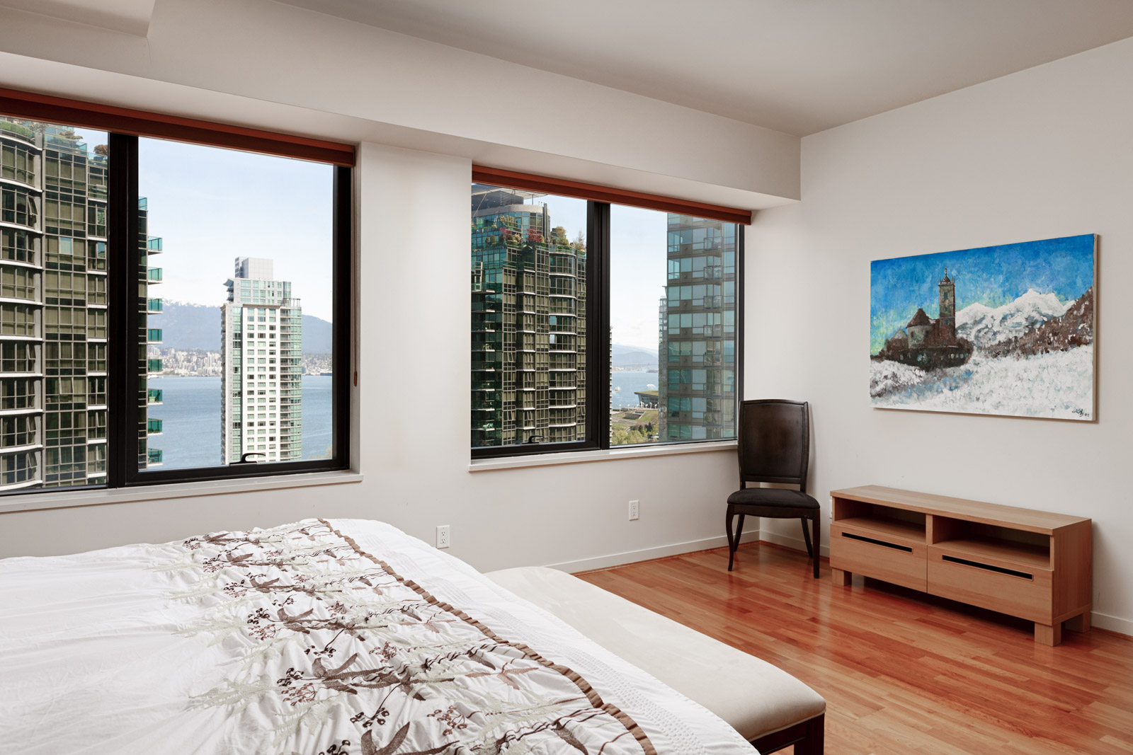 Bedroom with view in Coal Harbour