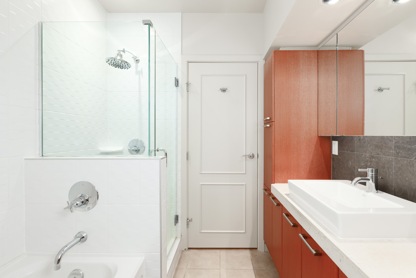 Newly-renovated bathroom in Coal Harbour