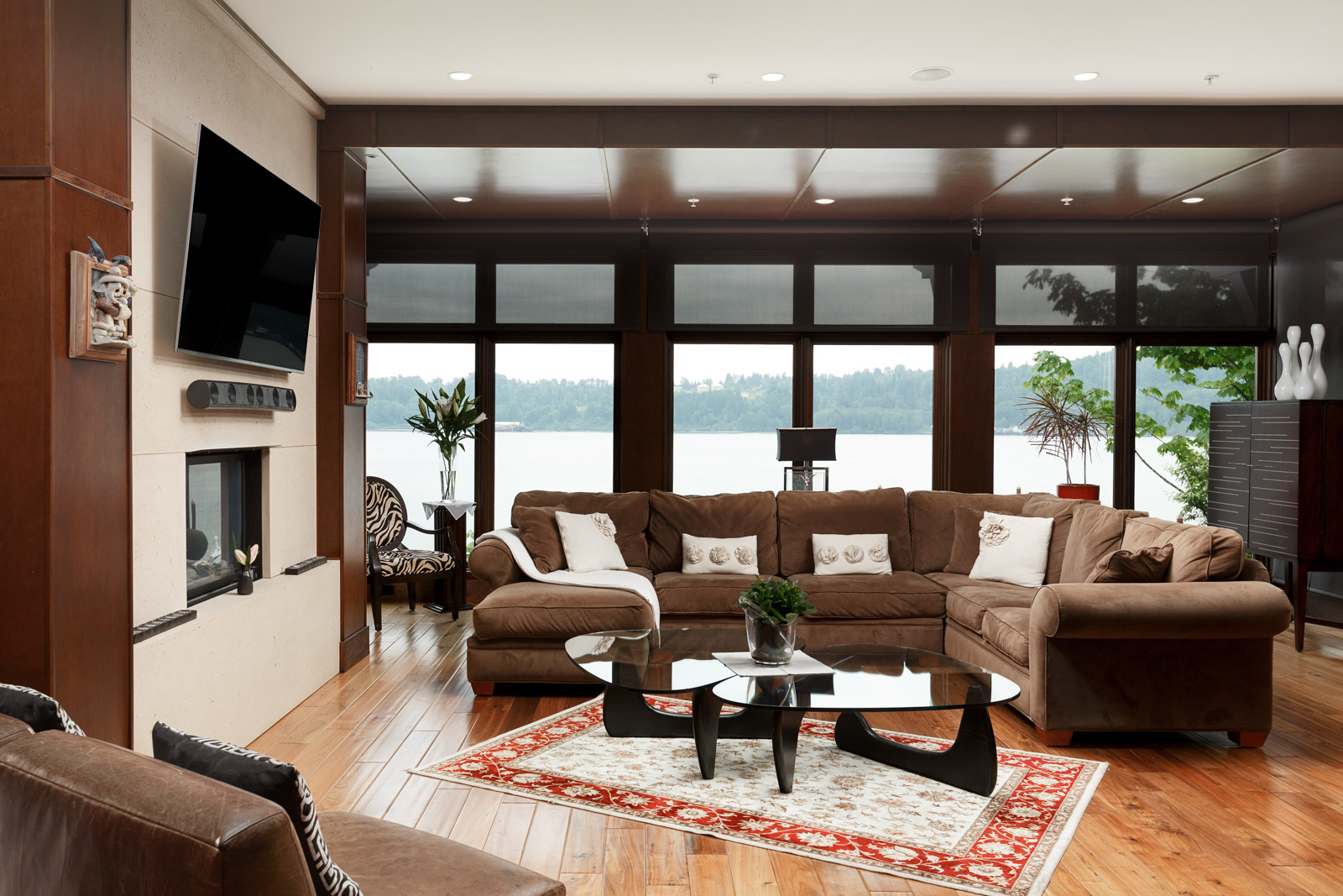 Living room of waterfront home in North Vancouver