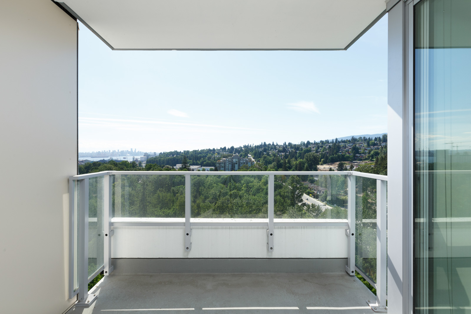 Private balcony of North Vancouver luxury condo with view.