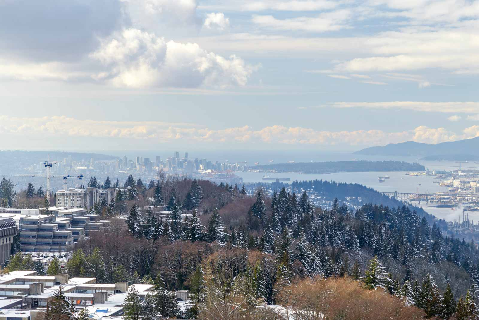 Burnaby Mountain view from luxury penthouse, available for rent from Vancouver property management company.
