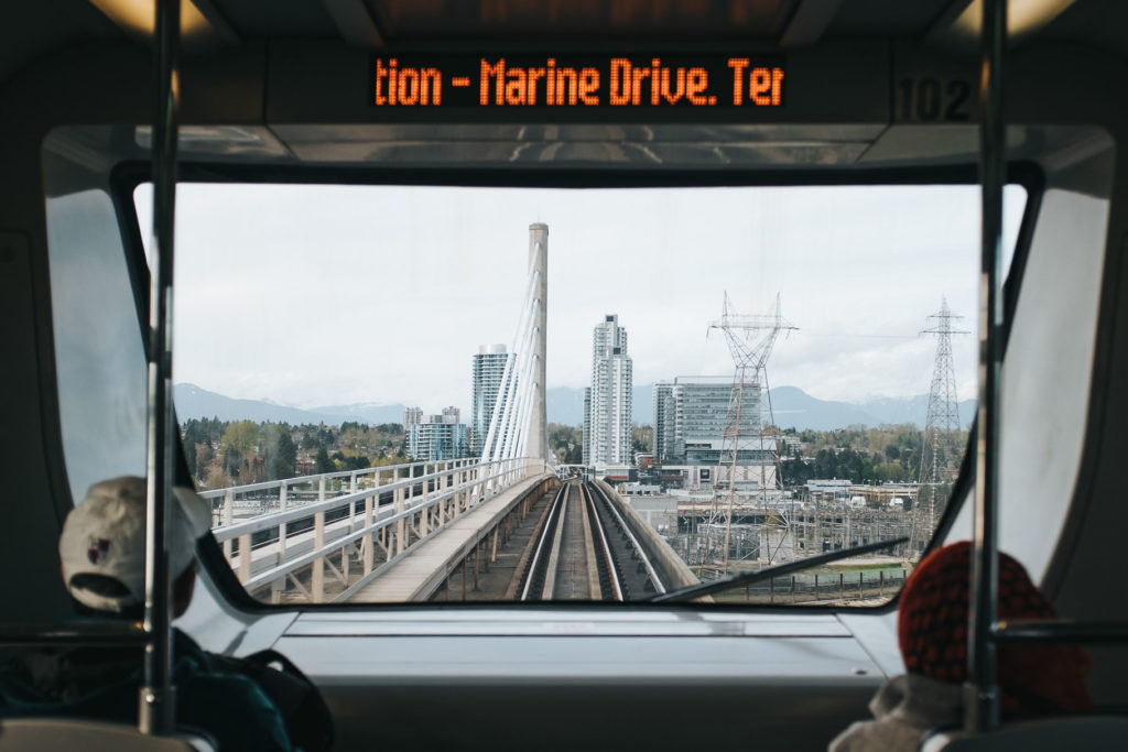 Marine Drive station next stop as shown inside Canada Line train
