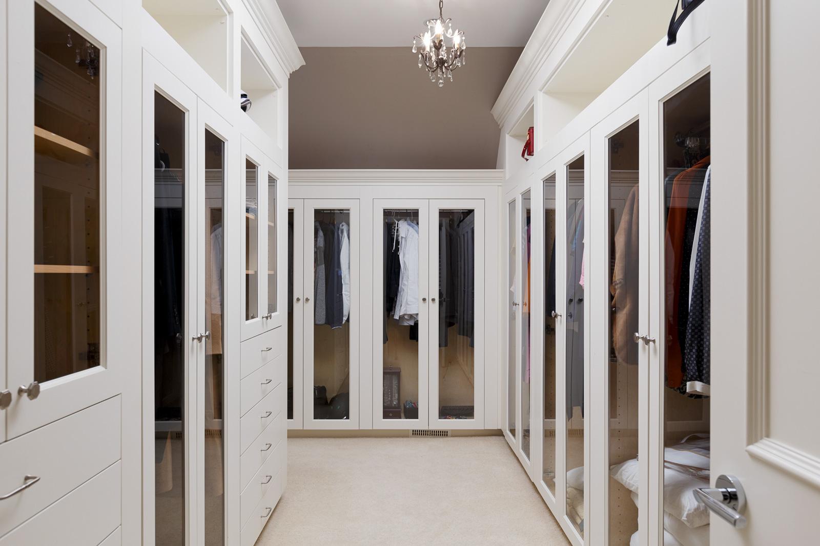 Walk in closet inside Vancouver luxury rental home.