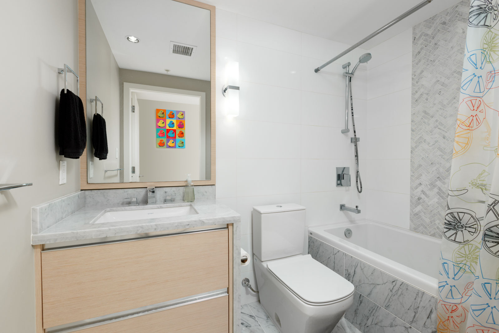 Bathroom in Vancouver rental condo.