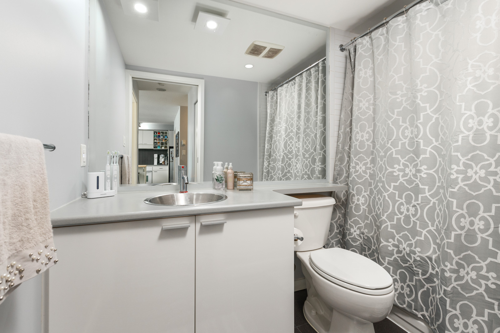 Bathroom inside Vancouver rental condo.