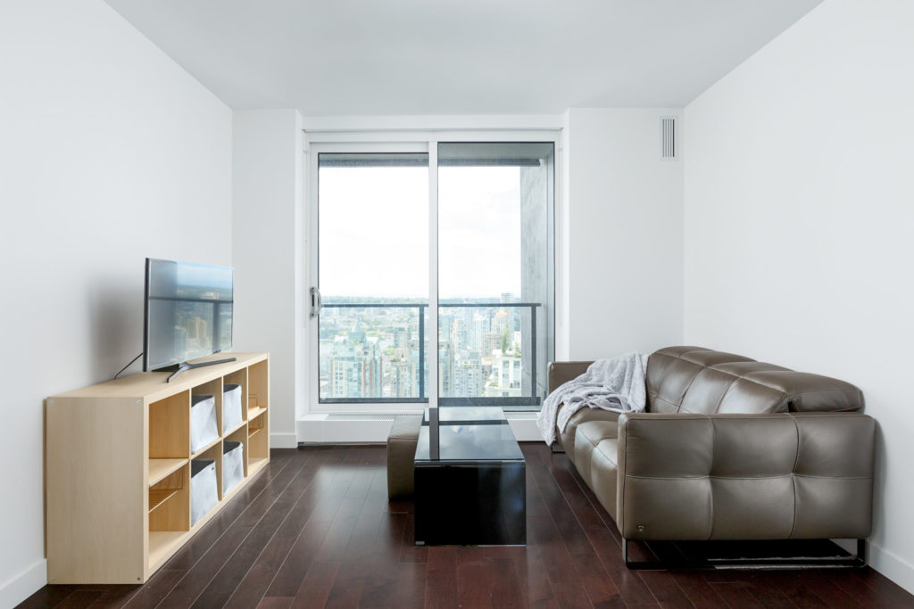 Sitting room in Downtown Vancouver condo with view.
