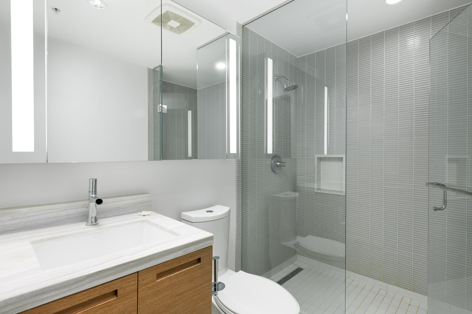 Bathroom with walk-in shower in Downtown Vancouver condo.