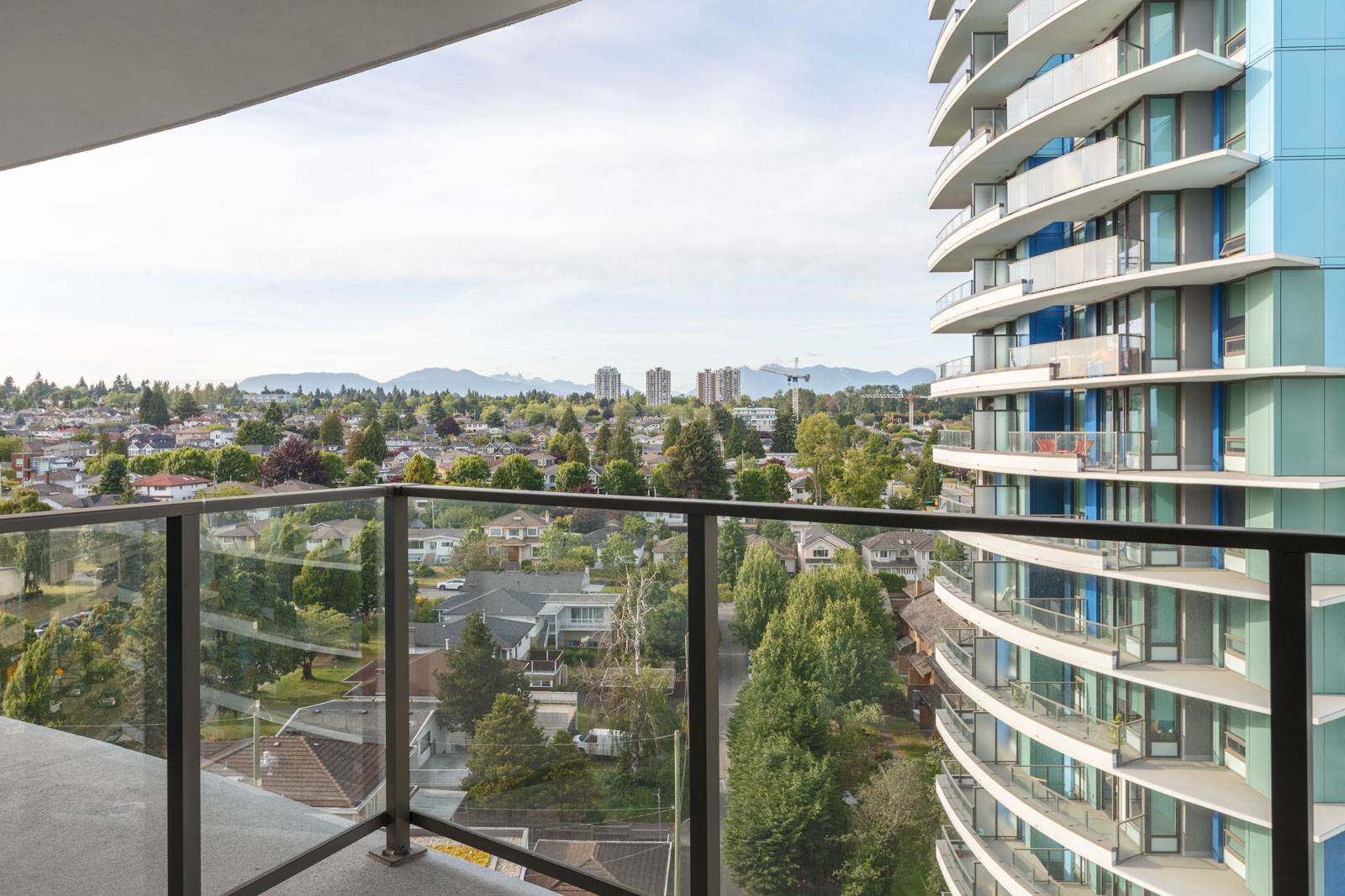 Private balcony of luxury Vancouver rental condo with view.