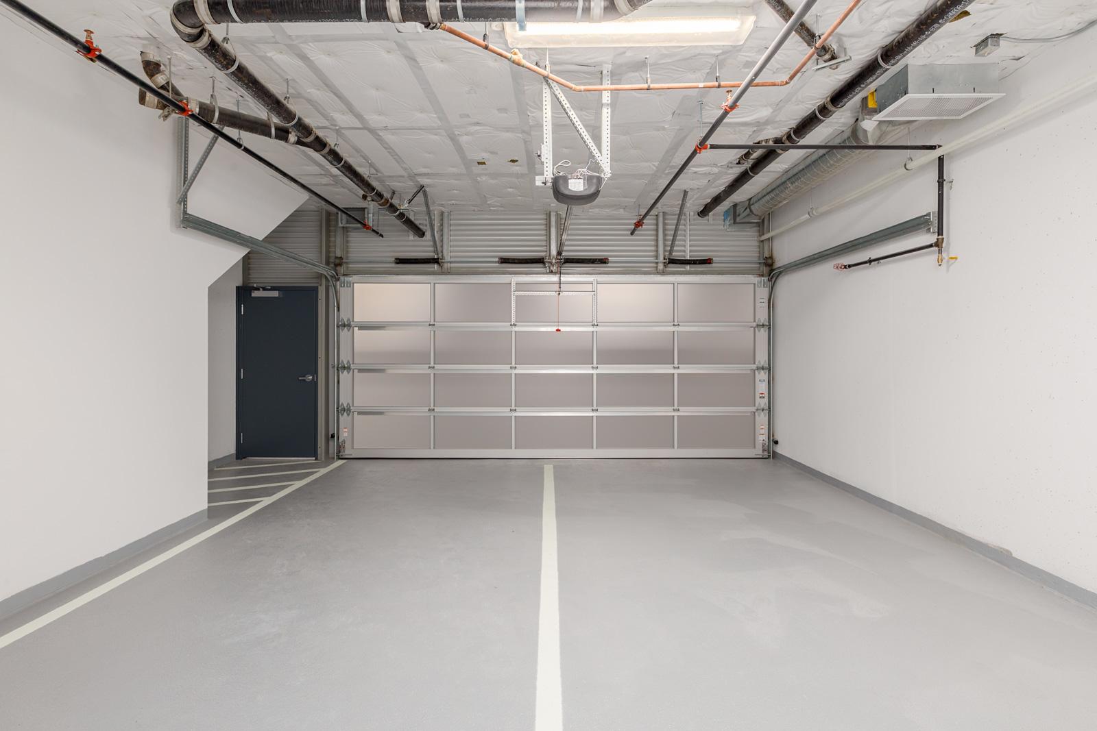 2-car garage of Vancouver luxury condo.