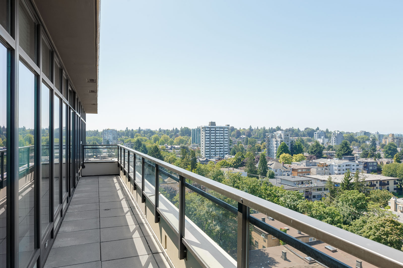 View from private balcony of Vancouver luxury penthouse managed by Birds Nest Properties.