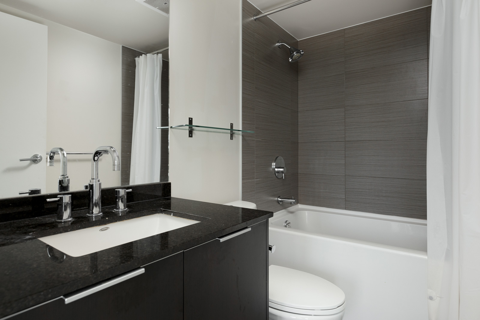 Bathroom in Vancouver luxury rental with black counter top next to toilet and bathtub.