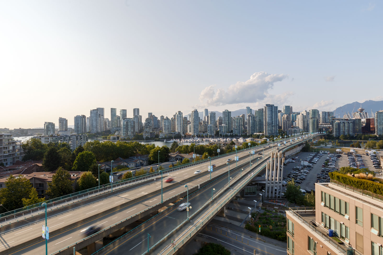 View of the highway from high rise Vancouver condo.