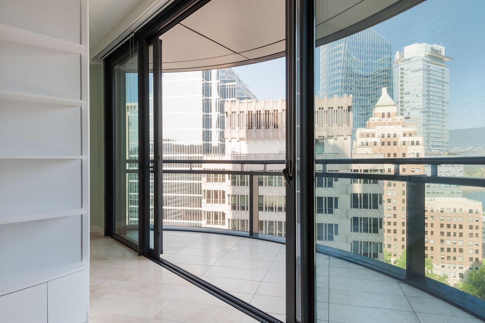 Entrance onto private balcony of Vancouver condo rental.