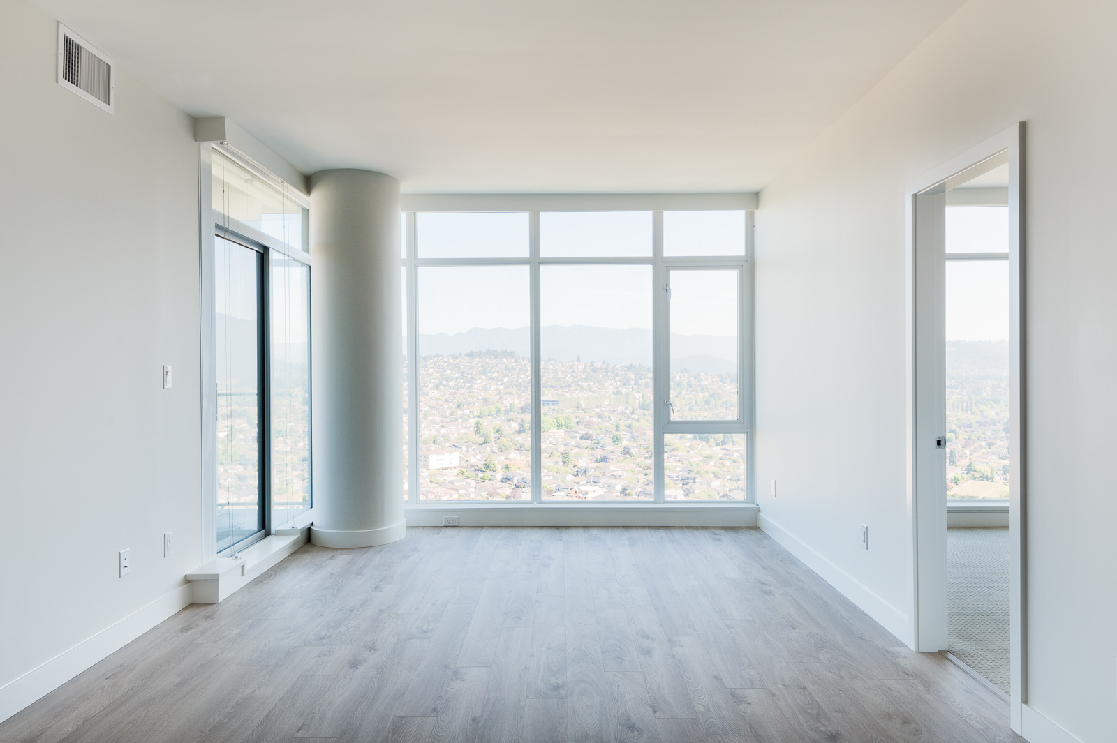 Floor-to-ceiling windows in Brentwood condo