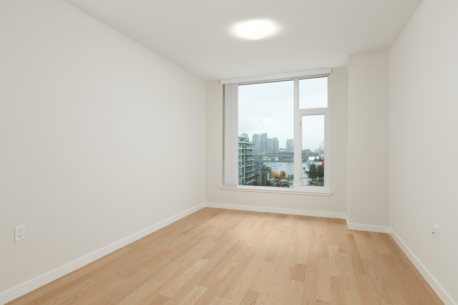 room with white walls and light hardwood floors and window and ceiling light