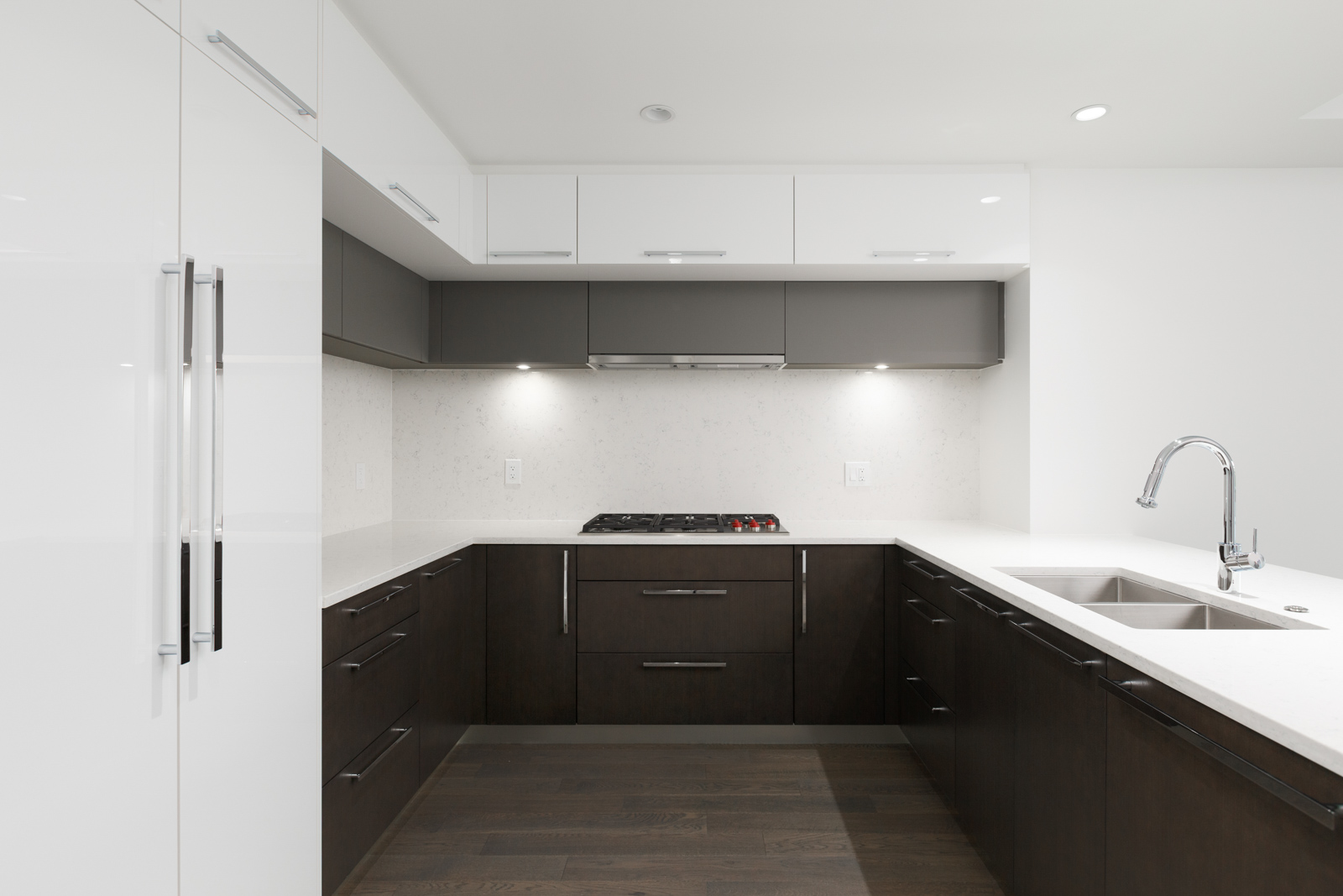 Kitchen in rental property in The Kirkland building in Kerrisdale Vancouver