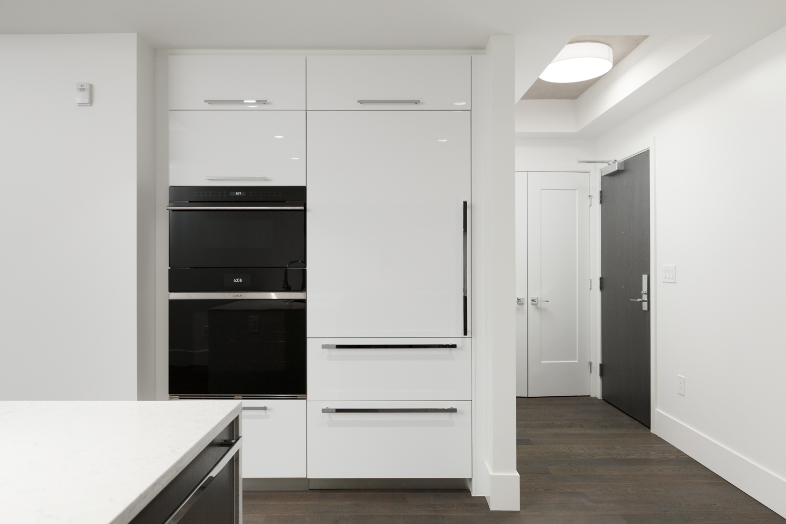 Cabinets in rental property in The Kirkland building in Kerrisdale Vancouver
