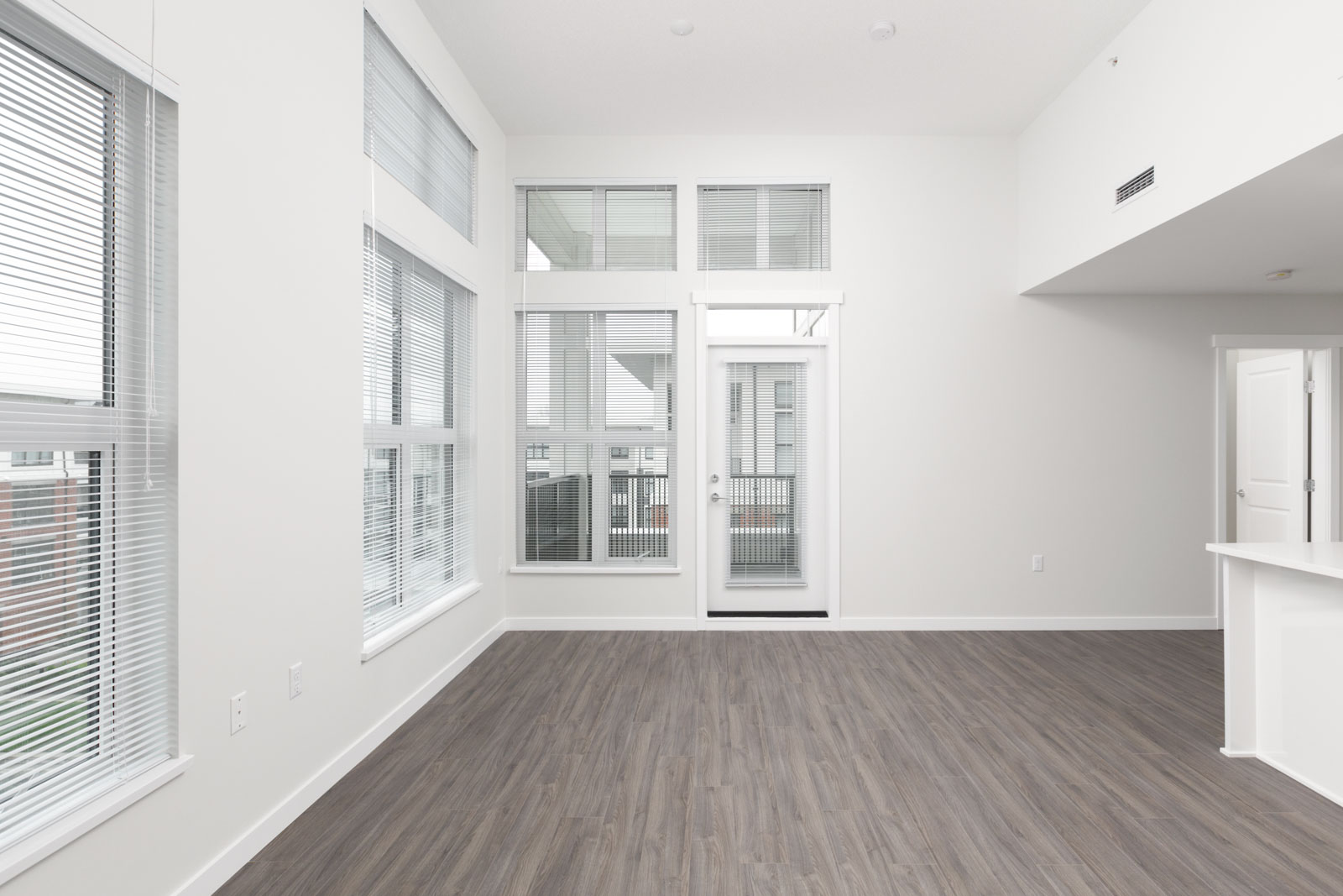 empty townhouse room with windows and hardwood floor