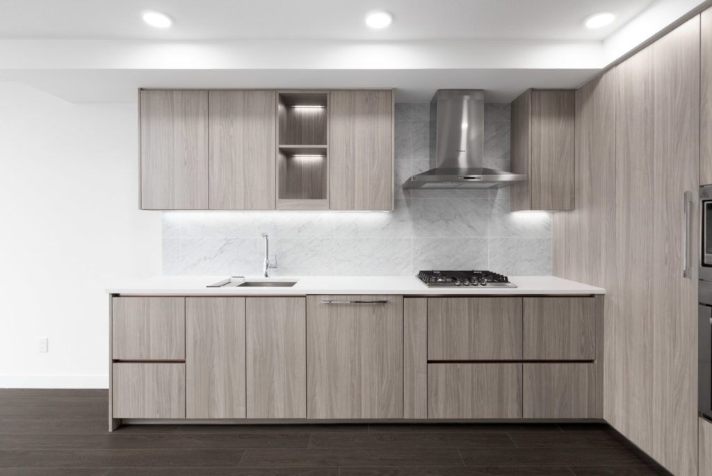 modern kitchen of new empty rental condo in richmond managed by birds nest properties
